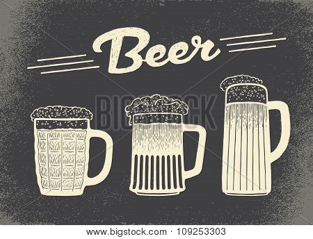 Beer set. Vintage sketch and old paper texture. Vector illustration.