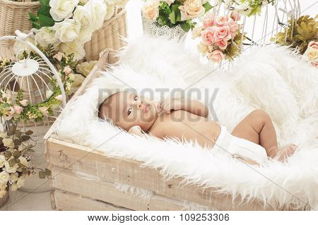 Adorable Baby Girl Lying In Box With Fur Blanket