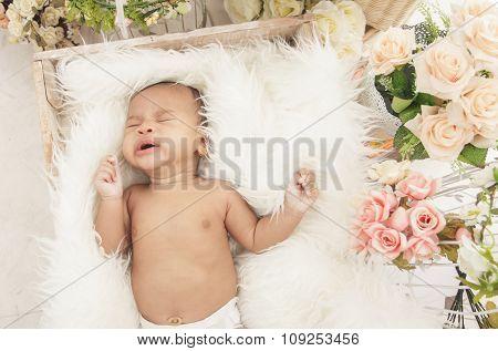 Cute Baby Girl Sleeping Comfy In Box With Fur Blanket