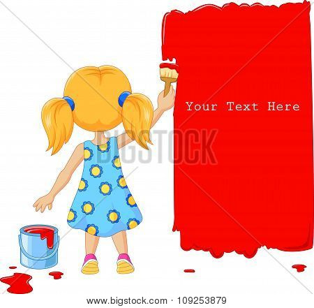 Cute little girl painting the wall with red color