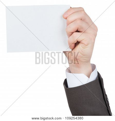 Businessman holding small empty card