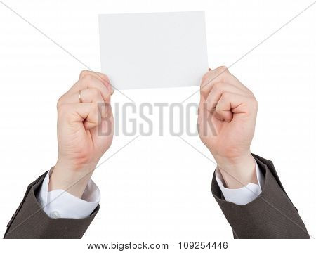Businessmans hands holding small empty card