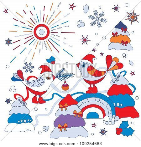 Stock Vector Winter Background. Card, Poster Template