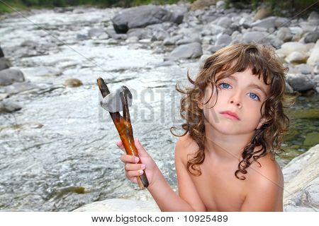 Girl River Stick And Stone Like Primitive Human