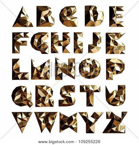 3D Set Gold Geometric Shapes Alphabet Letters