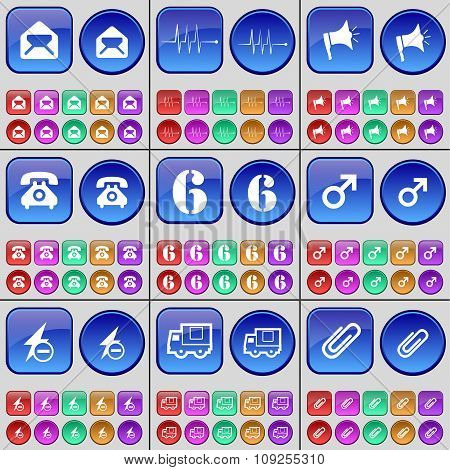 Message, Pulse, Megaphone, Phone, Six, Mars Symbol, Flash, Truck, Clip. A Large Set Of Multi-