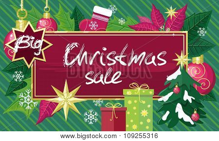 Christmas Sale Sign Design Concept