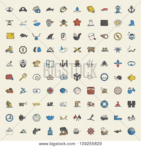Sea 100 Icons Universal Set For Web And Mobile Flat