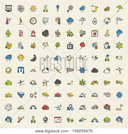 Weather 100 Icons Set For Web