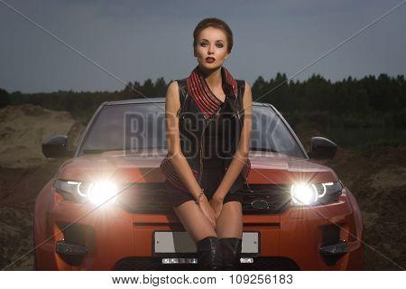 Fashion Woman Standing Near Vehicle