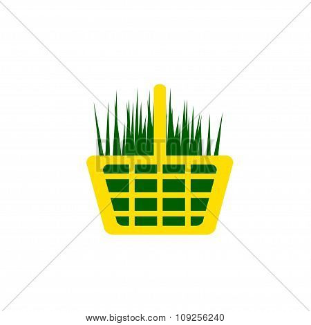 Yellow Shopping Cart With Green Grass