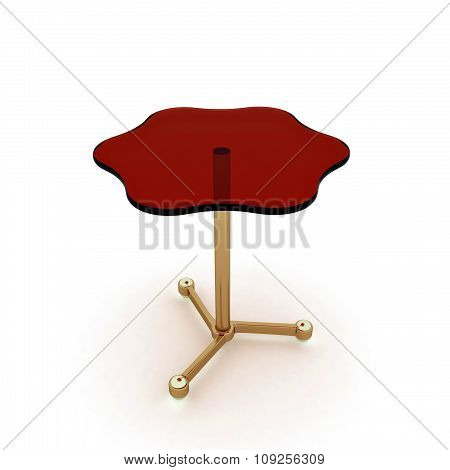 Table with a red glass surface on the white