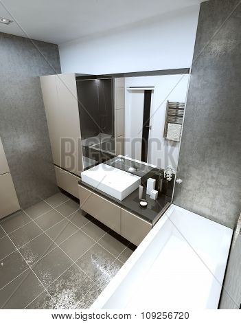 Contemporary Bathroom With Luxurious Modern Furnishings.