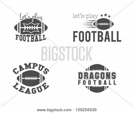College american football team, championship badges, logos, labels, insignias set in retro style. Gr