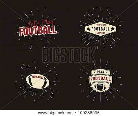 Set of vintage rugby and american football labels, emblems and logo designs with sunburst elements.