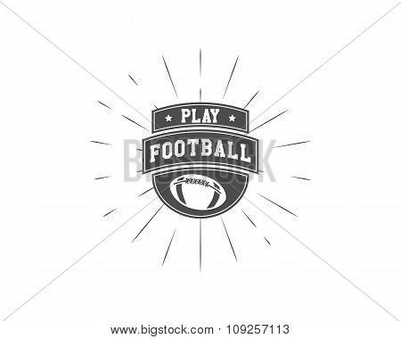 Vintage american football and rugby label, emblem and logo design with sunburst element. Hand drawn