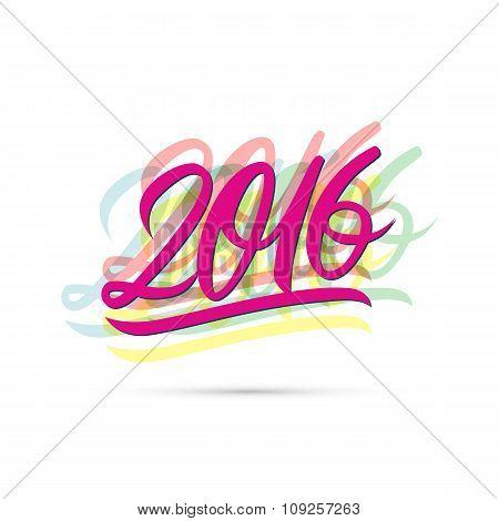 Happy new year 2016 text design.