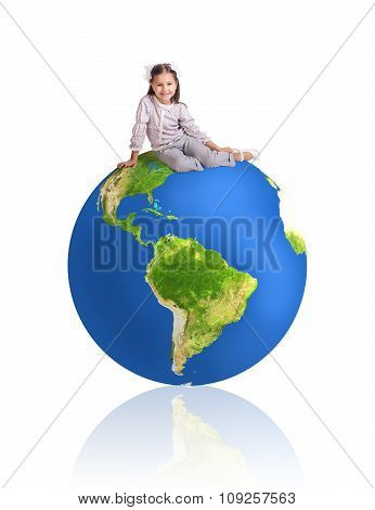 Little girl and big colorful earth
