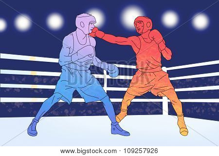 Two boxers on the ring on blue background