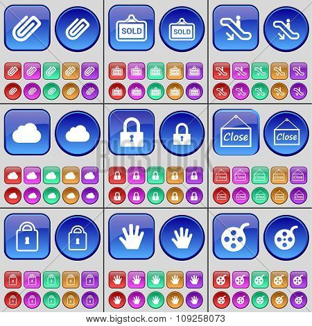 Clip, Sold, Escalator, Cloud, Lock, Close, Hand, Videotape. A Large Set Of Multi-colored Buttons.