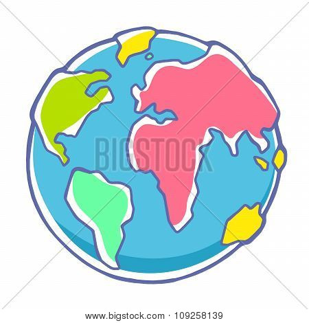 Vector Colorful Illustration Of Planet Earth On White Background.