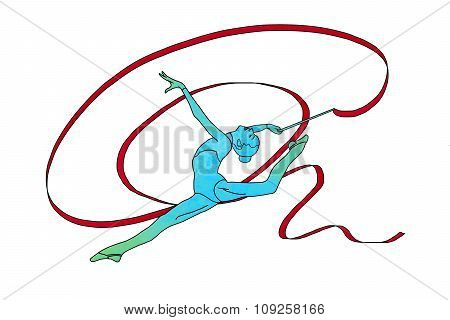 Female gymnast with tape on white background