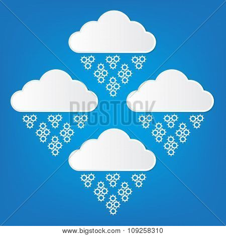 Vector Illustration Of Cloud Computing Service Concept Paper Cut Style With Shadows On Bright Blue B