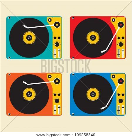 Flat Design Muticolor Of Disk Record Player For Dj Music. Vector Illustration Design.