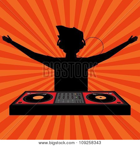 Black Shadow Of Cheering Dj With Headphone Raising His Arms And Play A Disk Jockey Player With Sun R