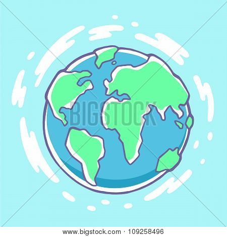 Vector Colorful Illustration Of Planet Earth On Blue Background With Clouds.