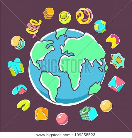 Vector Colorful Illustration Of Planet Earth On Dark Background With Abstract Elements.