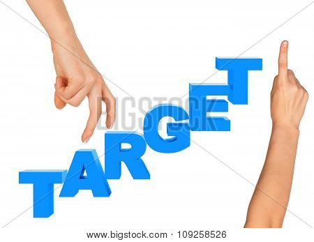 Womans fingers stepping on word target