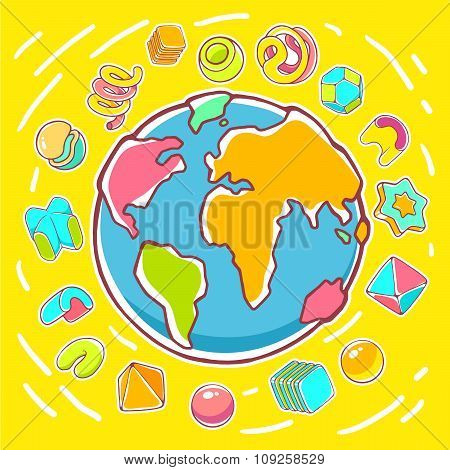 Vector Colorful Illustration Of Planet Earth On Yellow Background With Abstract Elements.