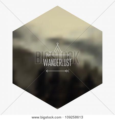 Mountain hipster background. Vector blurred landscape.