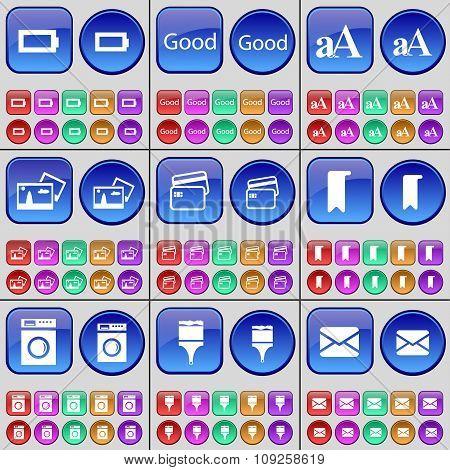Battery, Good, Font, Credit Card, Marker, Washing Machine, Brush, Message. A Large Set Of Multi-
