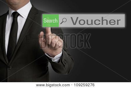 Voucher Internet Browser Is Operated By Businessman Concept