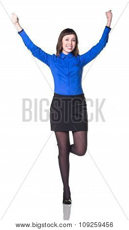 Business woman smiling with hands up