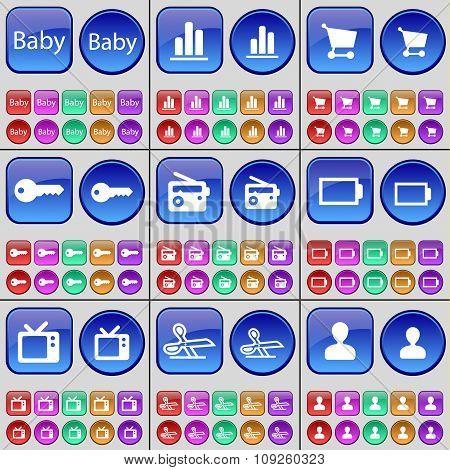 Baby, Diagram, Shopping Cart, Key, Radio, Battery, Tv, Scissors, Avatar. A Large Set Of Multi-