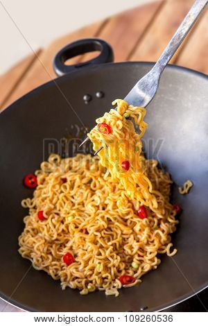 Indonesian Food Fried Noodle In Frying Pan