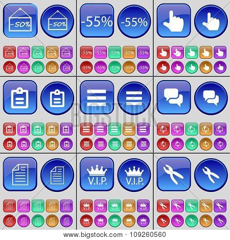Discount, Hand, Survey, Apps, Chat, Text File, Vip, Pliers. A Large Set Of Multi-colored Buttons.