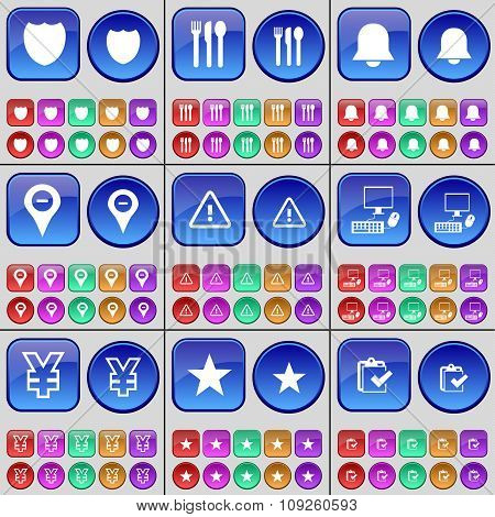 Badge, Cutlery, Notification, Checkpoint, Caution, Pc, Yen, Star, Survey. A Large Set Of Multi-