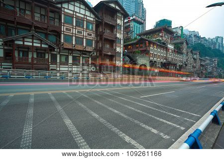 Empty Road Floor With China Ancient Architecture