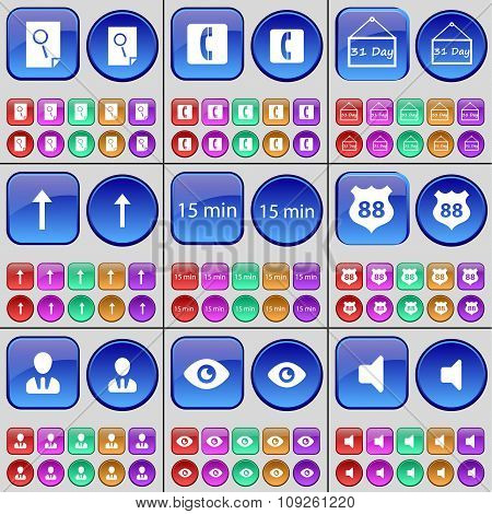 Search, Receiver, 31 Day, Arrow Up, 15 Minutes, Badge, Avatar, Vision, Sound. A Large Set Of