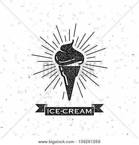 ice cream cone and vintage ribbon