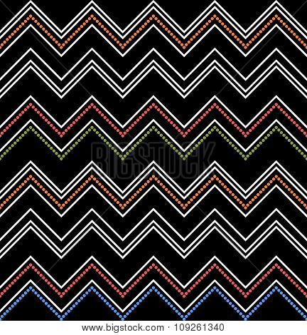 Colored Zig-zag Pattern On Black. Seamless Chevron Texture