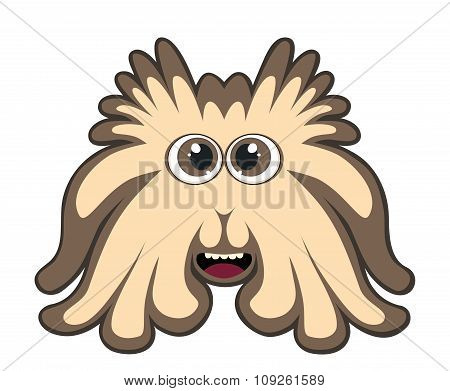 Cute Brown Monster Isolated On White