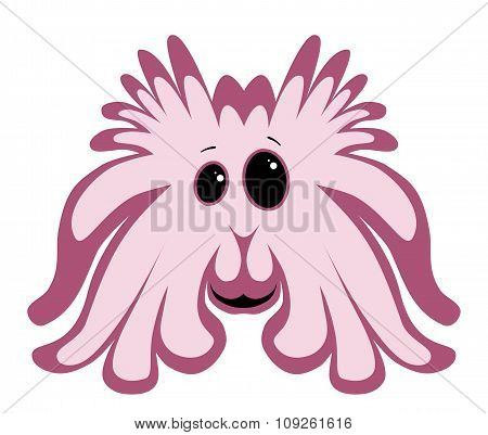 Cute Pink Monster Isolated On White