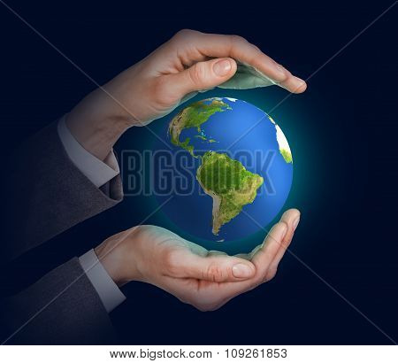 Earth in human hands