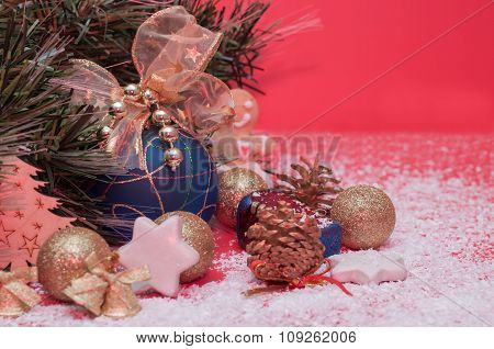 Decorations For The Christmas And New Year, Shiny Toys, Cones
