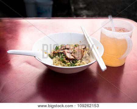 Pork Noodle With Shrimp Wonton